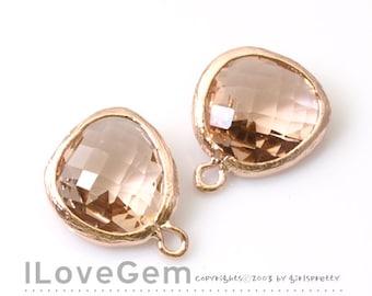P1750 Rose Gold plated, Peach, Glass fancy rosecut 12.5mm, Glass pendant, Framed glass, 2pcs