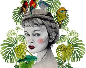 Illustration: Birds nest Print