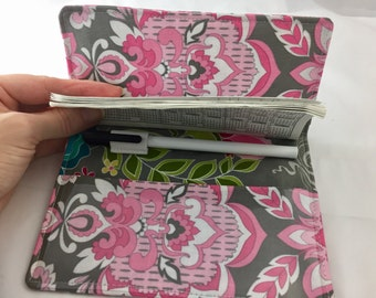 Grey Duplicate Checkbook Cover with Pen Holder Pink Duplicate Checkbook Register - Fabric Checkbook Cover Riley Blake Fantine Damask Grey