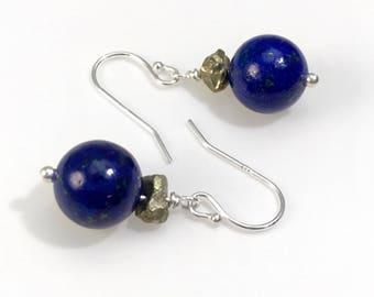 Lapis Lazuli & Pyrite Dangle Earrings: Healing Natural Cobalt Blue Gemstone Ball Drop Earrings Nickel-Free, Hypoallergenic Brass