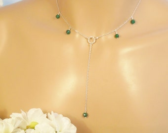 Emerald Necklace, Natural Emerald Gems Sterling Silver Necklace, May Birthstone, 4 mm Natural Emerald Beads, Green Wedding Bridesmaid Gift