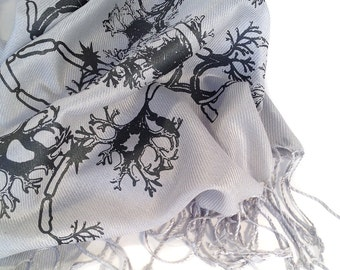 """Nerve Cell scarf. """"Grey Matter."""" Axon & dendrite neuron print on your choice of pashmina colors. For men or women. Unisex."""