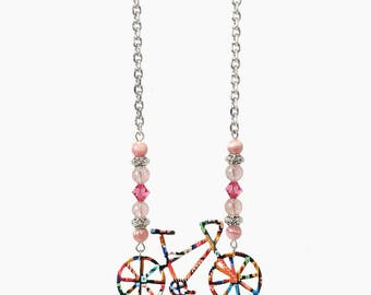 Colorful Bicycle Necklace with Pink Rhodochrosite and Strawberry Quartz Crystals