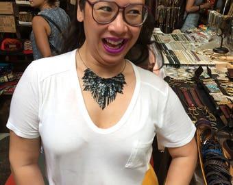 Black Metallic Pattern Leather Fringe Necklace
