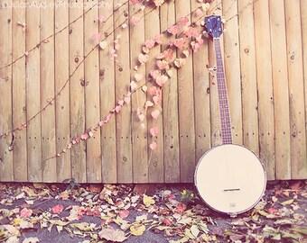 Banjo Photograph, Musical Photography, Pretty Pastel Home Decor, Brown Red Orange, Music Art, Whimsical Dreamy Print, Banjo Wall Art