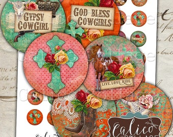 Gypsy Cowgirl, Bottle Cap Images, Digital, Collage Sheet, Printable Images, 1 Inch Circles, Horse Collage Sheet, Printable Download