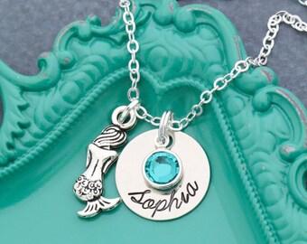 Mermaid Necklace Girls • Personalized Mermaid Gift • Silver Mermaid Charm Necklace • Beach Girls Mermaid Birthday Party Favor Girls Swimmer