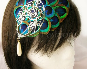 Peacock feather fascinator Lenore design (5 fastener, 12 color options) feather cap with filigree jewelry for kentucky derby,steampunk 1920
