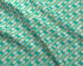 Mermaid Fabric - Sea Green Mermaid Tail By Katebillingsley - Mermaid Fish Dragon Scale Costume Cotton Fabric By The Yard With Spoonflower