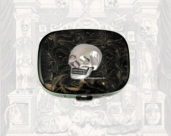 Skull Oval Pill Box Inlaid in Hand Painted Black Enamel with Gold Swirl Design Personalized and Color Options Available