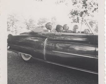Vintage Photo Snapshot - People sitting in convertible car - 1960s