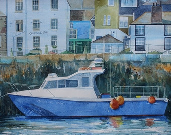 Original watercolour painting of Falmouth, Cornwall painting, Falmouth Harbour, boat painting, Cornish scene, townscape, harbor, Falmouth
