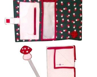 Kit Setas: broche para chupete + bolsa pañales y toallitas + cambiador