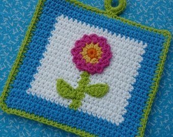 Summertime Flower Potholder Crochet PATTERN - INSTANT DOWNLOAD