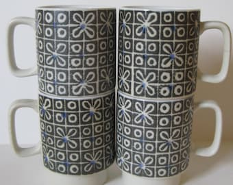 Vintage Coffee Cup Set of Four Stacking Mugs - Geometric - 60s