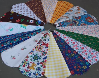 """Quilt Circles-- Set of 8 Dresden Circle Quilting Blocks 11 1/2"""" Handmade Vintage Cotton Fabric Craft Project Supplies"""