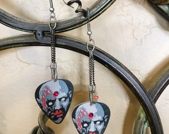 Zombie Guitar Pick Earrings
