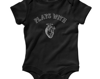 Baby Plays With Heart Romper - Infant One Piece - NB 6m 12m 18m 24m - Love Gift, Human Anatomy Baby, Love Baby, Crush Baby, Heartbreaker