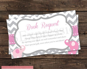 Pink and Gray Elephant Baby Shower Book Request Card