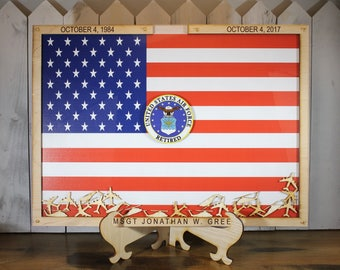 Personalized Guest Book/Extra Large/Flag/Navy/Coast Guard/Army/Air Force/Military/Retirement/Guest Book/Wood Shape/Planes/Helicopters