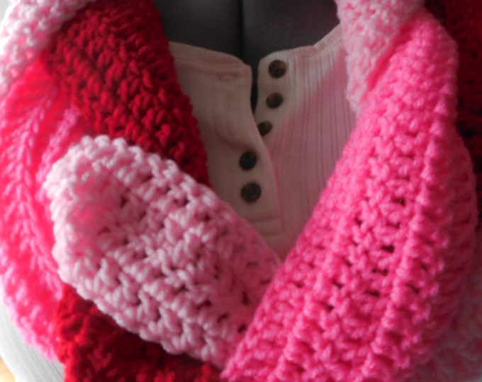 Braided Infinity Scarf - Pink -  Hot Pink and Red - Handmade Crochet - Ready to Ship