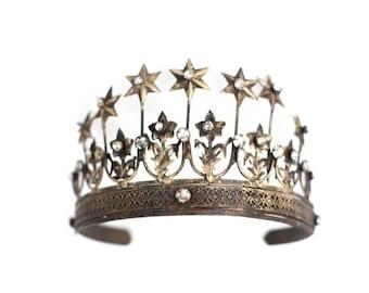 Gold Crown, Gold Tiara, Star Crown, Princess Crown, Vintage Crown, photo prop, vintage crown, rhinestone crown