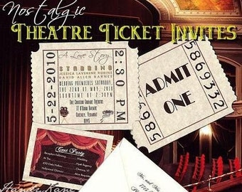 qty 50 Nostalgic Ticket Wedding Invitations Hollywood Movie Ticket Invites and Reception Cards