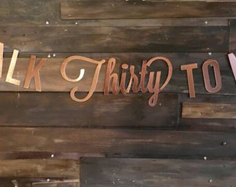 "Beautiful ""Talk Thirty to Me"" Banner! Perfect for Thirtieth Birthday Parties and Photo Backdrops! Available in GOLD, ROSE Gold, and SILVER!"