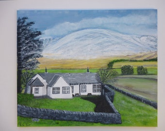 Acrylic scottish scenery Painting on Canvas 20x24 inch ( 60cmx50cm ) A  cottage  in the highlands of Glen Clova by LindaTaitArt