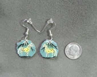 Antler Appaloosa Turquoise Earrings-Handmade, Natural, Hand Painted
