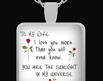 I love my wife, anniversary gifts for wife, wife birthday gift, wife necklace, husband to wife gifts, romantic gifts for her, husband wife