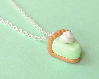 Food Miniature Key Lime Pie Polymer Clay Necklace Food Jewelry