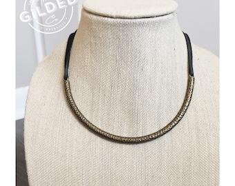 Ramona Choker — bronze + buttery soft deerskin leather lace, brown black, tie adjustable collar necklace nashville minimalist southern