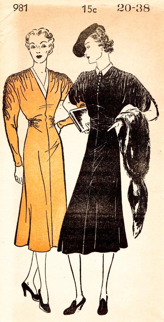 1930er Jahre Kleid 30er Jahre Kleid Vintage Schnittmuster