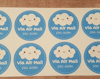 Kawaii Cloud Air Mail Stickers