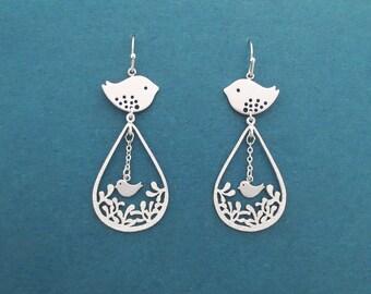 Bird, Garden, Gold, Silver, Earrings, Modern, Teardrop, Earrings, Birthday, Best friends, Mom, Sister, Gift, Jewelry