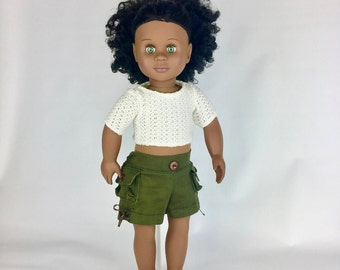 Green Cargo Shorts - 18 Inch Doll Clothes, AG Doll Shorts, Handmade Cargo Shorts for American Girl, Our Generation or Journey Girl Doll