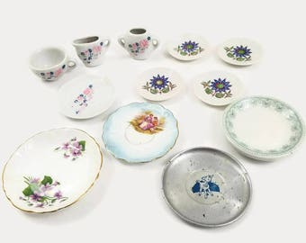Mixed Lot of 12 Vintage Doll Tea Set Dishes