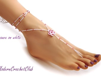 Barefoot Sandals- Beach Wedding- Foot Jewelry- Footless Sandals- Barefoot Wedding Sandal-  Bridesmaid gift- Boho Wedding Shoes- Girlfriend