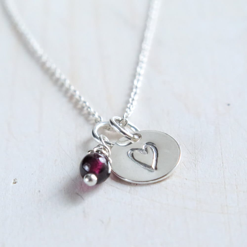tiny heart necklace heart necklace with garnet long. Black Bedroom Furniture Sets. Home Design Ideas