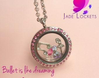 Ballet Locket, Floating Locket, Ballet Jewelry