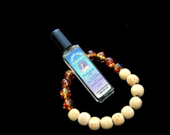 Essential OIL with AMBER and Wooden Beads Stretch BRACELET