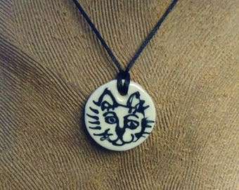 Hand Painted Kitty-Face Ceramic Pendant with Floral Design on Reverse