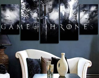 5 Panels Game of Thrones Sign Logo a Song of Ice and Fire Jon Snow Tyrion Lannister Bran Stark Canvas Art Multi Grouped Artwork asoiaf GOT
