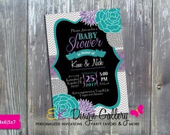 Baby Shower Elegant Flower Invitation, Chevron Invite, Purple Teal Invitation, Baby Shower Invite, Personalized Invitation