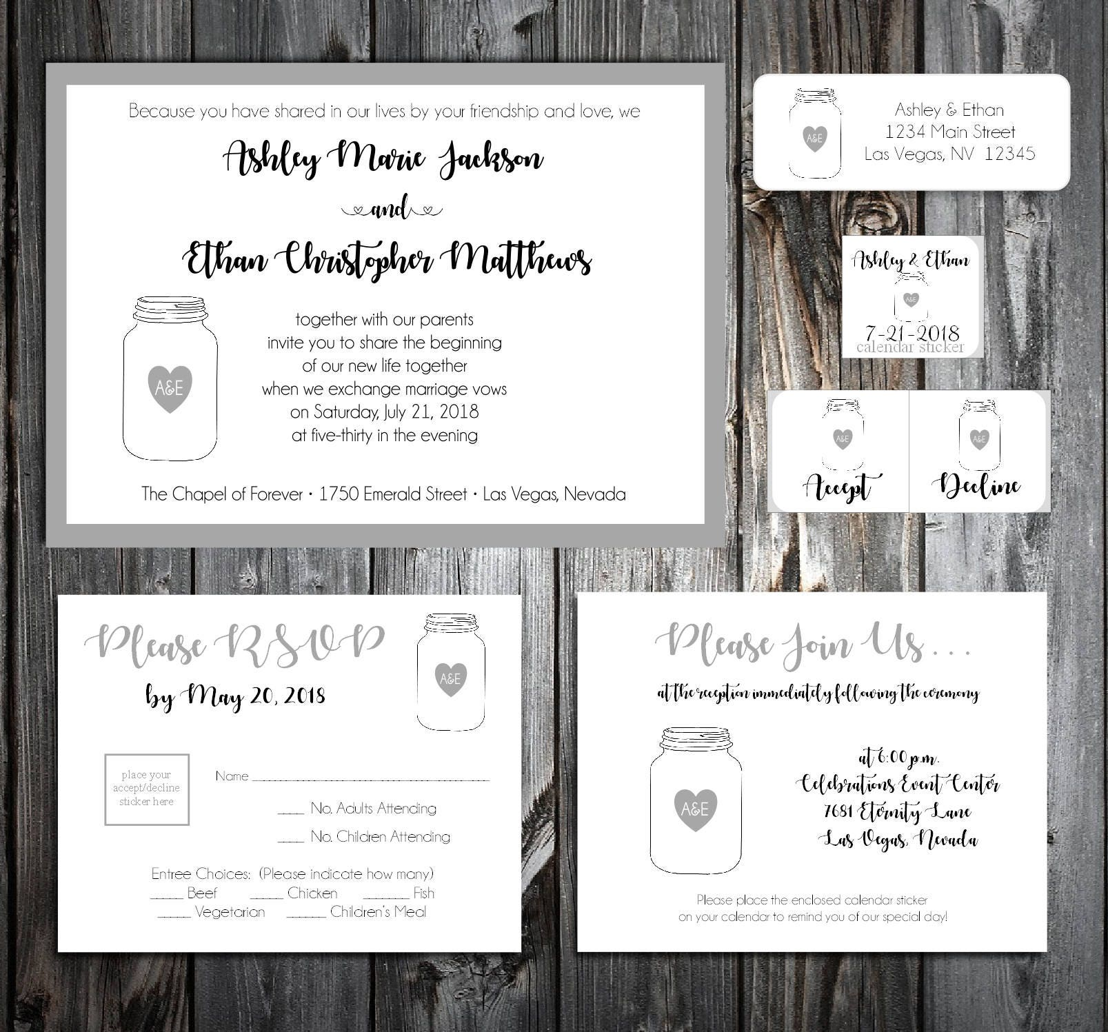 75 Mason Jar Wedding Invitations, RSVP\'s, Reception Inserts w/ FREE ...