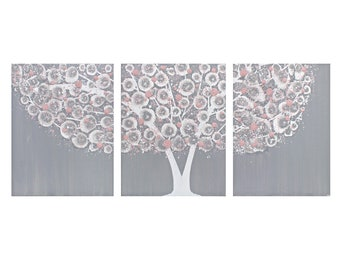 Textured Wall Art for Girl's Nursery in Gray and Pink, Original Painting of Tree on Canvas Triptych 3 Piece - 35x14