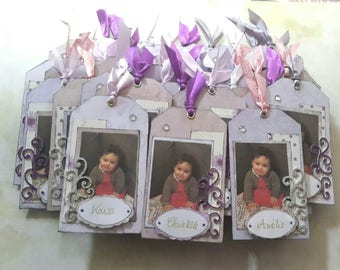 Place cards for baptism: scrappes tags matched with photo. Set of 40