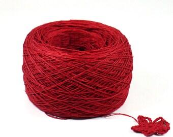 Crochet Thread 3 Ply Linen Thread Red Linen Yarn Specialty Thread Tatting Thread