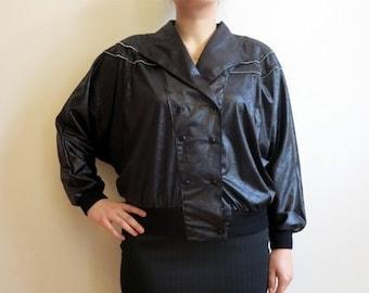 Black Jacket Black Womens Blazer 1980s jacket Double Breasted Blazer Kimono Sleeves Jacket Wet Look Jacket Medium Size Womens Jacket